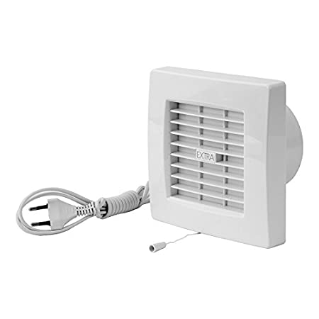 HT KERABAD Ventilator mit Jalousie L/üfter Badl/üfter Wandl/üfter Bad-L/üfter f/ür WC Bad oder K/üche Feuchtesteuerung Feuchtesensor Weiss /Ø 100 mm Durchmesser