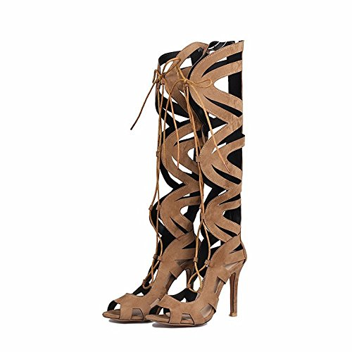 canister altos zapatos botas tacones zapatos brown cordones o gamuza de Up mate de Lace Tama del qxH1Rw