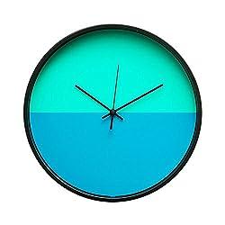 Arospa Minimalist Horizon Scandinavian Interior Design 12 Non-Ticking Sweep Silent Wall Clock with Matte Black Finish (Caribbean Sea Blues)