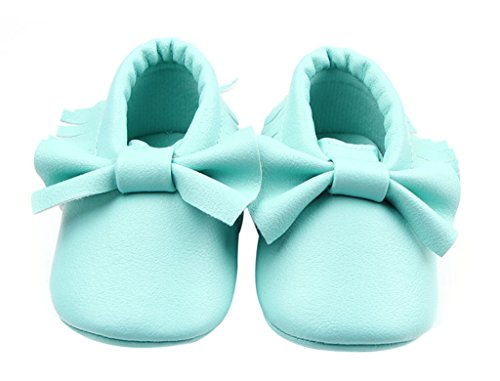 La Vogue Zapatos para Bebe con Lazo y borla Primeros Pasos Turquesa Talla 13cm