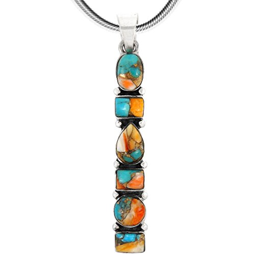 Turquoise Necklace Pendant 925 Sterling Silver Genuine Gemstones (20