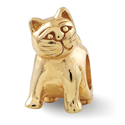 ICE CARATS 925 Sterling Silver Gold Plated Charm for Bracelet Cat Bead Animal Fine Jewelry Gifts for Women for Her -