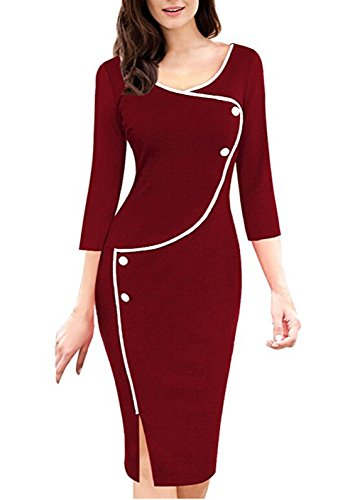 Viwenni Women's elegant Vintage office Pencil Party Midi Dress (M, Burgundy)
