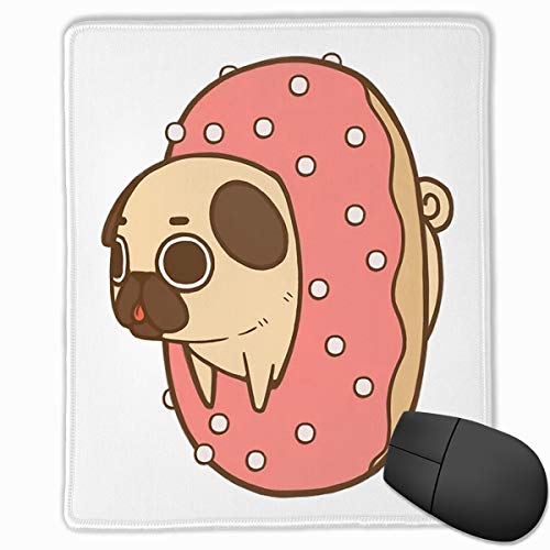 Office Mouse Pad Pug Dog with Donuts Rectangle Rubber Mousepad 8.66 X 7.09 Inch Gaming Mouse Pad with Black Lock - Donut Rectangle