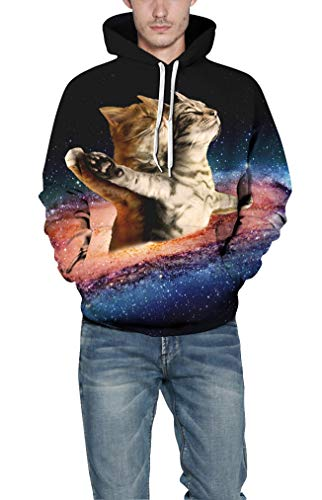 Gatto Cappuccio Stampe Uomo Lunghe Con Galassia Animali Ocean Maniche Felpa Sweatshirt Titanico Plus Felpe Pullover qO5XYw5x4