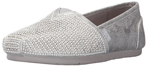 BOBS from Skechers Women's Luxe Bobs-Big Dreamer Flat, Silver, 9.5 M US