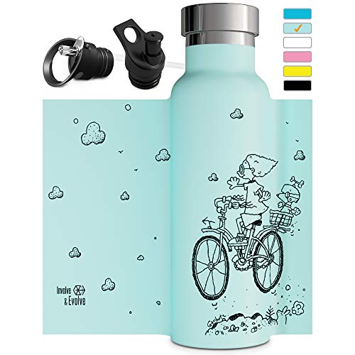 Vacuum Insulated Water Bottle with Straw Sports Cap Double Walled Stainless Steel Metal Thermos Eco Friendly Non Sweat Durable Finish 20oz Thermos for Kids Bike BPA Free
