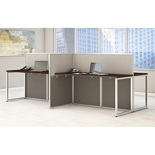 (Bush Business Furniture Easy Office 60W 4 Person Straight Desk Open Office in Mocha Cherry)