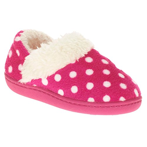 Image of WMS Toddler Girls Pink Polka Dot Aline Loafer Style Slippers House Shoes