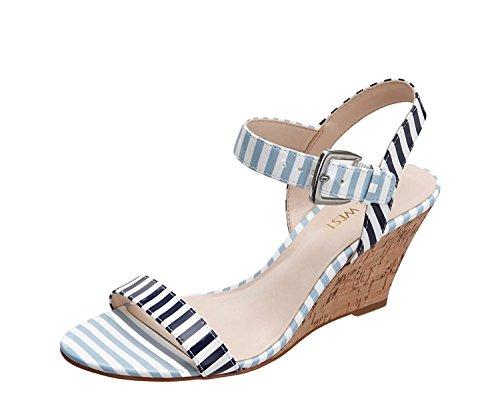 Nine West Women's Kiani Synthetic Wedge Sandal, White/Navy/White/Light Blue, 38 B(M) EU/6 B(M) UK