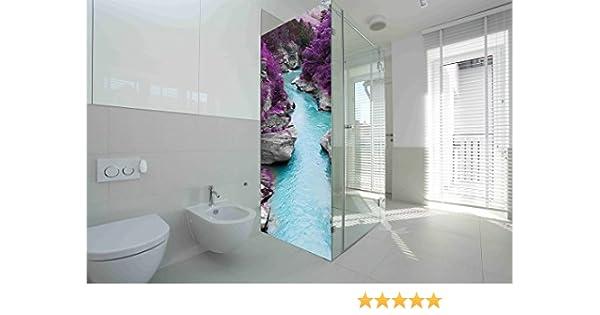 Vinilo para Mamparas baños Rio vegetación morada | Varias Medidas 185x70cm | Adhesivo Resistente y de Fácil Aplicación | Pegatina Adhesiva Decorativa de Diseño Elegante: Amazon.es: Hogar