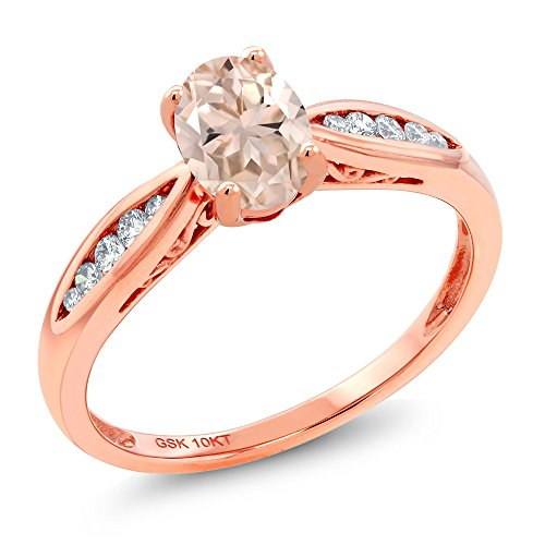(Gem Stone King 10K Rose Gold Peach Morganite and Diamond Engagement Ring 0.72 Ctw Oval (Size 7) )