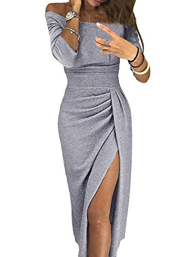 Gray Cocktail (Happy Sailed Women Off Shoulder Ruched Shiny Slim Metallic Knit Cocktail Party Midi Slit Dress M Gray)