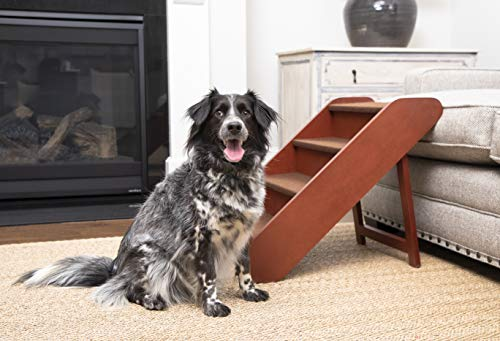 PetSafe Solvit PupSTEP Wood Pet Stairs for Dogs and Cats, Foldable – for Dog Sizes Small, Medium, Large, X-Large