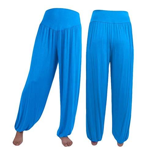 (GWshop New Yoga Leggings, Workout Yoga Pants for Women Yoga Leggings Capri Sports Dance Harem Pants Sports Pants Sky Blue XL)