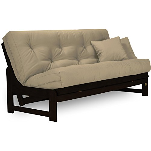 Living Room Queen Size Futon Frame (Arden Dark Espresso (Near Black) Futon Set Full or Queen Size - Armless Wood Futon Frame with Mattress Included (Twill Khaki), More Mattress Colors Available, Space Saving Modern Sofa Bed Sleeper)