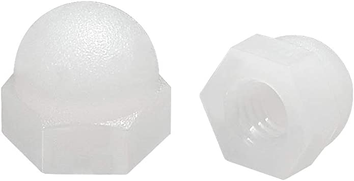 sourcing map Tuerca de casquillo M3 Tuercas de cabeza de c/úpula de bellota hexagonal para Tornillos Pernos de Nylon 10 uds blanco