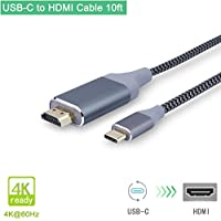 USB C to HDMI Cable 10ft/3m(Thunderbolt 3 Compatible)Braided, Smolink USB-C to HDMI 4K@60Hz Cable for Samsung Galaxy S8/S8+, 2017/2016 MacBook Pro, 2015 Macbook
