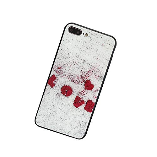 - BONTOUJOUR iPhone 7/ iPhone 8 Phone Case, Beautiful Red Heart Love Words Tempered Glass Soft TPU Frame Mirror Tempering Glass Phone Case -iPhone 7