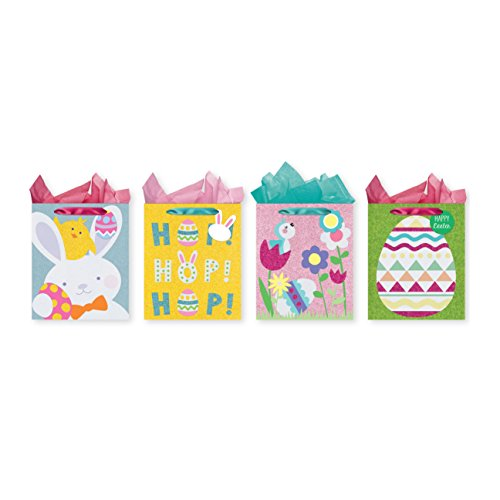 - Pack of 4 Easter Tri-Glitter Gift Bags w/ Tissue Paper - Large