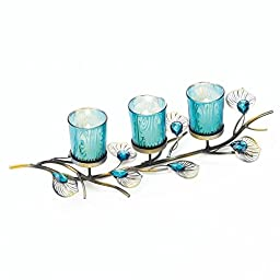 Blue PEACOCK INSPIRED Tabletop Candle Trio Turquoise Centerpiece Decor HomGarden