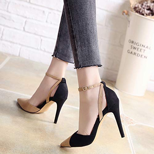 Shoes Single Splicing 10Cm Spring Temperament Shoes Buckle Heel And Sexy Apricot Summer Suede High SFSYDDY Pointed color Shoes nY5HqXR