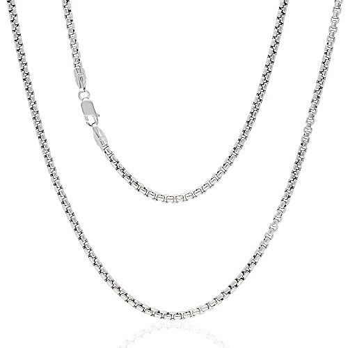 White Gold Round Box Chain (14k White Gold Hollow 2.5mm Round Box Chain Necklace 18