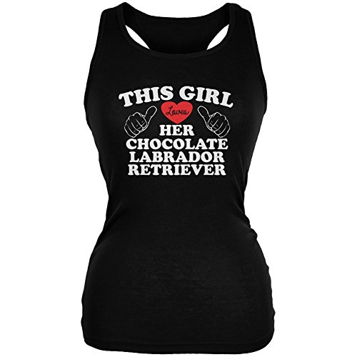 Animal World Valentines This Girl Loves Her Chocolate Lab Black Juniors Soft Tank Top - 2X-Large