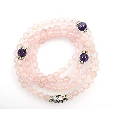 Artisanal Quartz Perle 108 RoseAméthysteamp; Bracelet Perles Mala En cj3q54ALRS