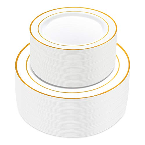 100 Pieces Gold Plastic Plates,HabiLife White Party Plates, Disposable Plastic Wedding Party Plates 50 Dinner Plates 10.2 inches and 50 Salad/Dessert Plates 7.5 inches ... -