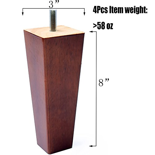 Sofa Legs,Tapered 8 Inch Solid Wood Furniture Replacement legs (8 Inches, Set of 4)