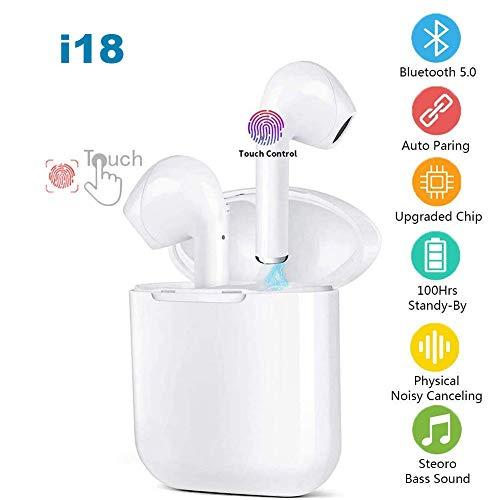 🥇 I18 Auriculares Inalámbrico IPx5 Auriculares intrauditivos a Prueba de Sudor 3D Estéreo Impermeable Touch Sports con micrófono y Estuche de Carga portátil para Todos Bluetooth de teléfonos móviles