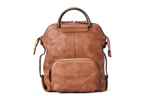 ROCKCOW Fashion Shoulder Bag Full Grain Leather Women Girls Ladies Backpack Travel bag by ROCKCOW