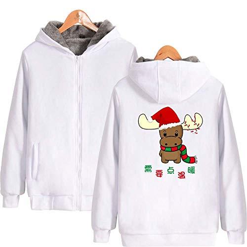 Con Slim Fit white Larga Cremallera Outwear Impresión Otoño Hombres Invierno Suéter Sudadera Camiseta Abrigo Capucha De Manga Navidad Cálido m Navidad Swnq7PX