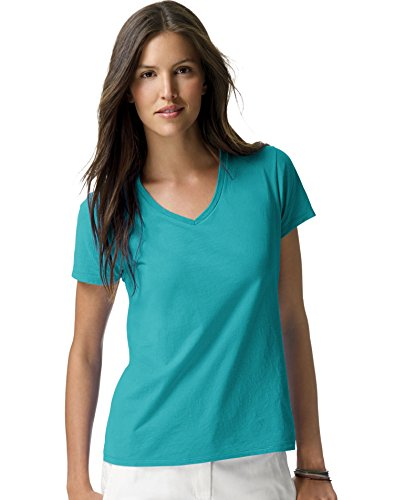Hanes-Womens-Nano-V-Neck-T-Shirt-Teal-Medium