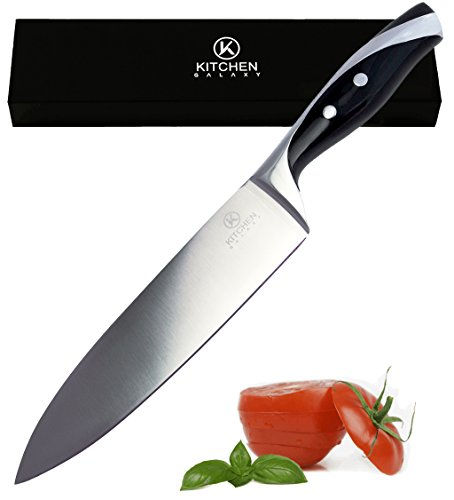 CHEF KNIFE with 8-Inch Stainless Steel Razor Sharp Blade for Easier and Professional Cutting, Slicing, Carving & Chopping - Multipurpose Full-range Chef´s Cooking Knives by Kitchen Galaxy.