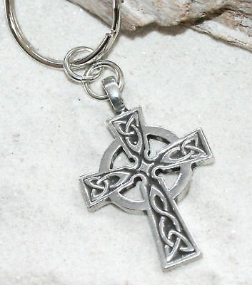 (Pewter Celtic Cross Irish Scottish Wales Keychain Key Tag)