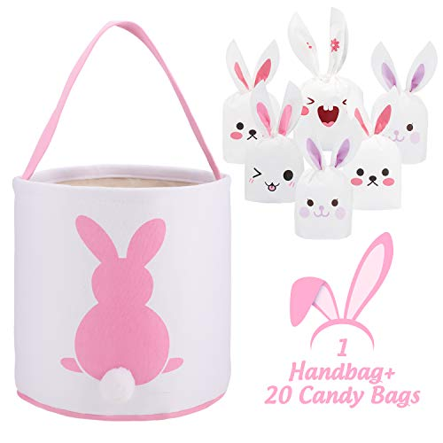 Whaline 1 Pcs Easter Bunny Bags with 20 Candy Bags, Canvas Eggs Gift Tote Rabbit Handbag for Kids Party Basket (Pink)
