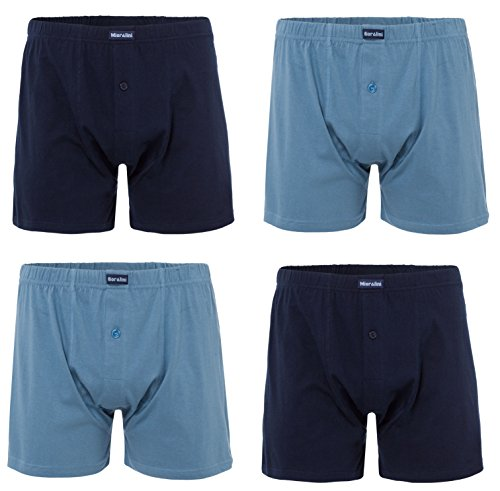 MioRalini 4 Knit Boxers With Wide Leg Opening 100% Cotton Soft Plush-Backed Waistband Classic & More Colors - Easy Soft Boxershorts For Men XXS - 6XL Oversize Possible (Color-Set04, Small) ()