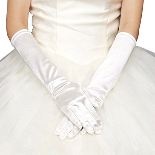 Dress Gloves, Costumes Gloves, WITERY Full Finger Stretchy Satin Party Fancy Dress Accessory / Bridal Wedding Gloves / Prom Dress Gloves Costumes Gloves For Ladies Women White