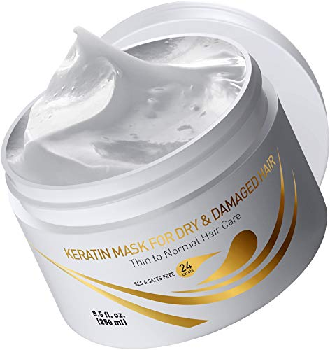 Vitamins Keratin Hair Mask Deep Conditioner - Thin Fine Hair Keratin and Argan Oil Complex Hydrating Repair Treatment for Dry Damaged Hair and Scalp (Best Treatment For Dry Hair Ends)
