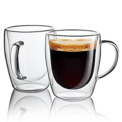 Jecobi Indulge, Strong Double Walled Insulated drinking glasses with handle, 10 oz Glass Coffee Cups Dishwasher. Microwave, freezer with NO RISK.