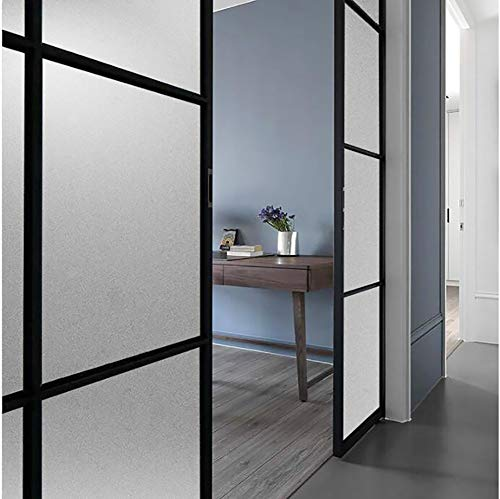 Price comparison product image XXRBB Privacy Frosted Window Film No-Glue Static Decorative Glass Sticker Anti UV Heat Control for Home Office Bathroom Kitchen, Clear, 60x300cm(24x118inch)