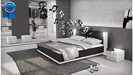 Cuna, diseño con led e Ilario altavoces, color negro y blanco ...