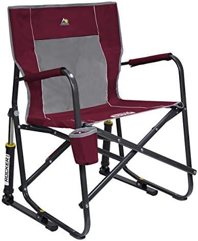 GCI Indoor Outdoor Camping Maroon Roadtrip Portable Folding Rocker Chair New
