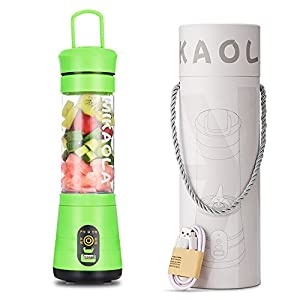 EgoEra Portable Mini Personal Powerful Electric Juicer 450ml Sports Bottle Cup Blender Maker with Six Leaves Blade and Built-in 2200mAh Rechargeable Battery Power Bank, USB Charging Cable, Green
