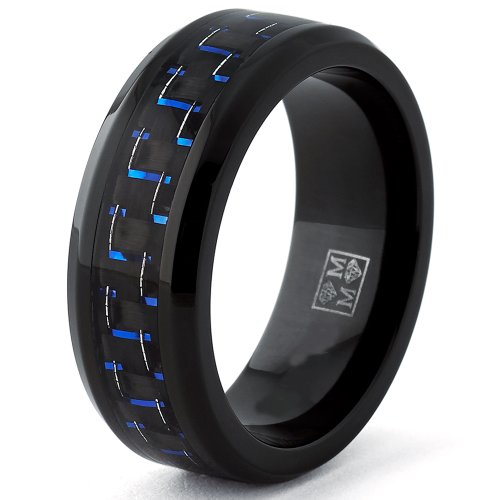 Black Titanium Wedding Band Ring with Black and Blue Carbon Fiber inlay, Comfort fit 8mm, Size 7