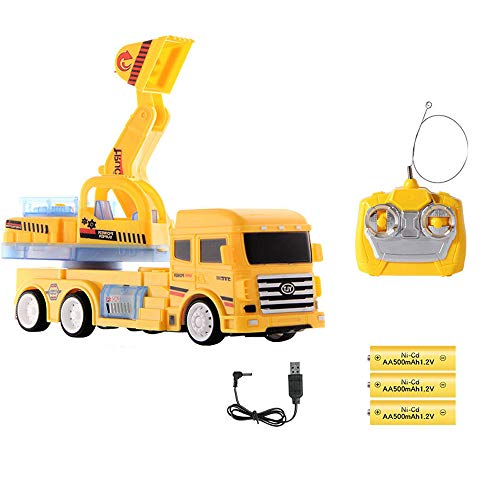Insaneness Xmas Gift Toys Kids Lights Music Construction Vehicle Remote Control Excavator Truck Toy Gift (Yellow) (Excavator Rear)