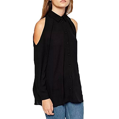 Epaule Fanmay Chic Chemisier Couleur Longues Mousseline Haut T Noir Femmes Manches Dnud Unie Tops Shirts Blouse Tops XrTwXA