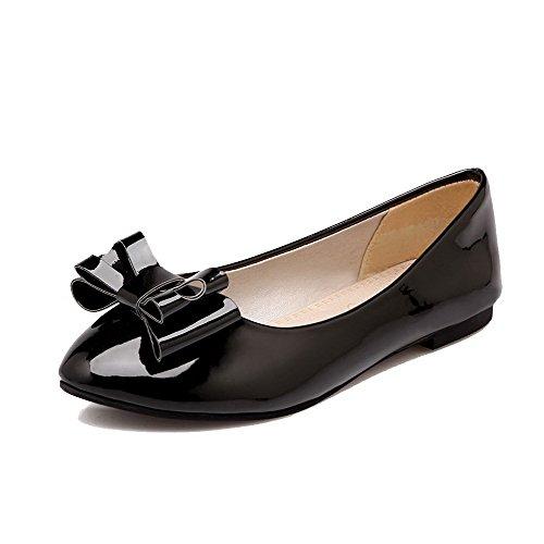 AmoonyFashion Womens Solid PU Low Heel Closed-Toe Pumps-Shoes Black MUa1lRNeiW